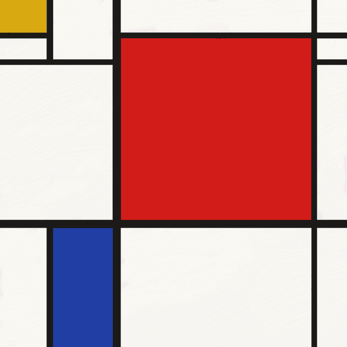 'Fake' Mondrian in his most recognizable style.